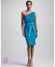 V 166 Кружевное бирюзовое короткое платье