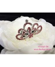 D 119-pink  Коронка розовая на гребне со стразами