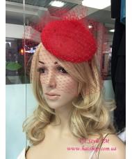 SH 485 Шляпка кружевная красная с вуалью