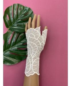 PR 127 Кружевные перчатки айвори без пальцев