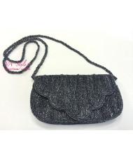 S 059 Вечерняя сумочка с бисером серый графит с перламутром