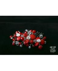 GR 105 Цветочки из кораллов на гребне красные