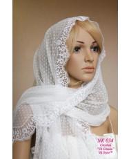 Nk 034 Белая шаль с кружевной окантовкой