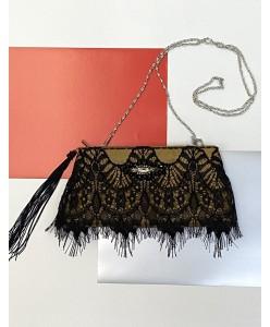 S 023 золотисто-черная вечерняя сумочка