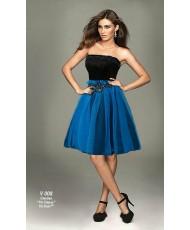 V 008 Платье бирюзовое с чёрным с расшитым поясом