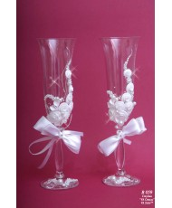 B 059 Свадебные бокалы белые с лепкой и бисером