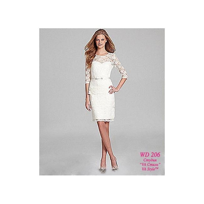 Кружевное короткое свадебное платье с рукавами