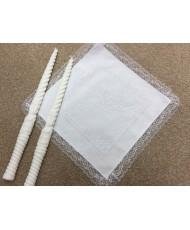 RU 022 Платочки хлопковые белые с вышивкой