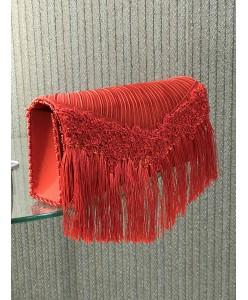 S 053 Красный клатч с бахромой
