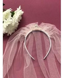 SH 504 Фата розовая с  коронкой