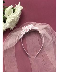 SH 495-1pink Фата розовая на ободке