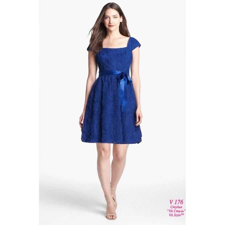 Свадебное платье синее короткое