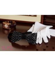 BT 028 Бабочка черная с белой вуалью