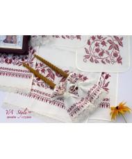 PL 072 Венчальный набор лён с бордовой вышивкой