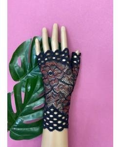PR 160 Чёрные с красным кружевные перчатки