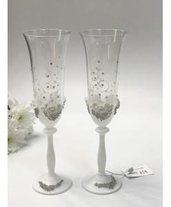 B 060 Свадебные бокалы белые с бисером