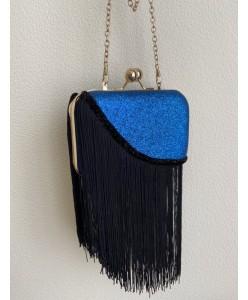 S 082 Клатч синий с бахромой