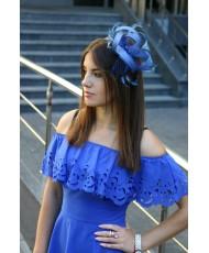 SH 275-blue Украшение на ободке с перьями в синем цвете