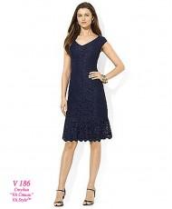 V 186 Тёмно-синее кружевное платье 50р