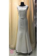 WD 244 Платье в цвете айвори атласное с кружевом