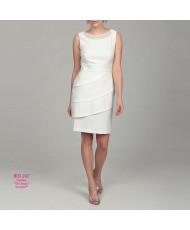 WD 247 Платье-футляр молочное с жемчугом 52р