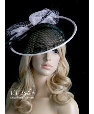 SH 556 Шляпка с полями чёрная с розовым