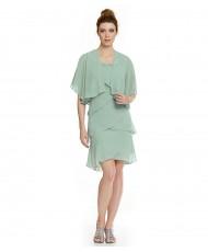 V 194 Платье с оборками и накидкой мятное