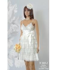 Платье молочного цвета с кружевными оборками р 42-44 V 103-1