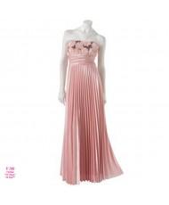 V 189 Персиково-розовое платье с юбкой-гофре