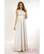 WD 252 Платье айвори с золотом жаккард