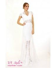 WD 254 Кружевное платье-комплект молочное