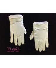 DPR 011-iv Перчатки атласные с пальчиками молочные