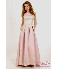 WD 252-pink Платье пудра с золотом жаккард
