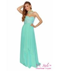 V 197-mint Платье кружево с шифоном в мятном цвете