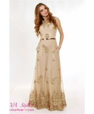 WD 258 Платье в золотистом цвете с вышивкой