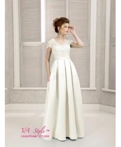 WD 261 Платье с кружевными рукавами и атласной юбкой