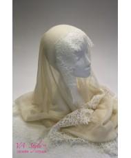 NK 076 Шаль-шарф вискоза с кружевом