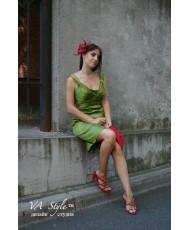 Атласное платье оливкового цвета р 46 V 132