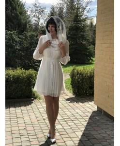 WD 269 Платье молочного цвета из шифона с кружевом с рукавом