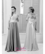 WD 267 Платье на свадьбу или венчание шифон с кружевом айвори