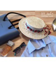 SH 566 Шляпка-канотье с полями с вышивкой