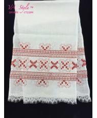 RU 025-1 Льняной рушник с красной вышивкой