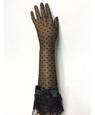 PR 157-1 Перчатки черные из сеточки с кружевным рюшем