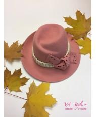 SH fetr 002 Шляпа из фетра розовая с полями