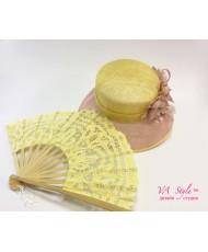 SH 572 Шляпка с полями из соломки и  цветами