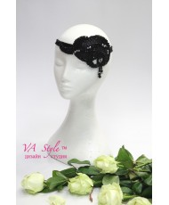 SH 574 Украшение в волосы-повязка из бисера черная