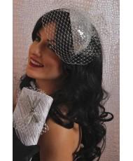 SH 575 Серебристая мини-шляпка с вуалью