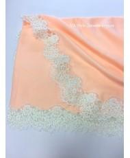 NK 072-peach Палантин персик из пашмины с кружевом