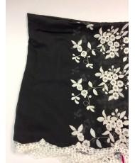 NK 075-black  Палантин чёрный хлопок с вышивкой