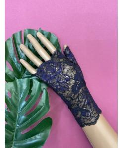 PR 141-1 Черные с фиолетовым кружевные перчатки без пальцев